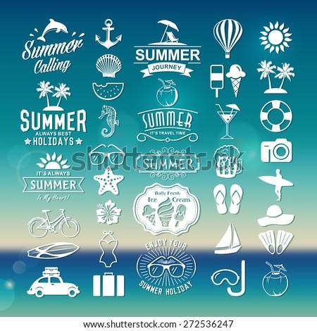 Summer logotypes set. Summer vintage design elements, logos, badges, labels, icons and objects. Summer holidays.