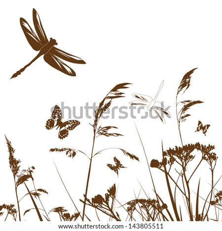 summer meadow silhouette with