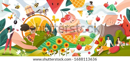 Summer memories, happy people cartoon characters in fantasy world with fruits and ice cream, vector illustration. Summertime land of sweets and flowers, man and woman enjoy summer vacation outdoor Zdjęcia stock ©