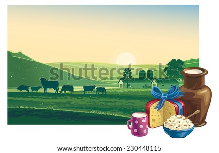 summer morning landscape with