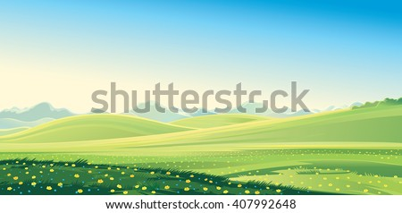 Summer mountain landscape. Vector illustration.
