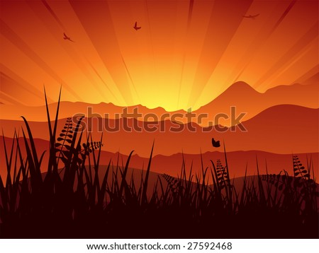 summer mountain landscape with sun setting behind mountains