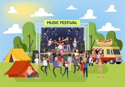 Summer music festival outdoor. Crowd of people dance, band on the stage play song and sing. Summer activity. Vector illustration in cartoon style