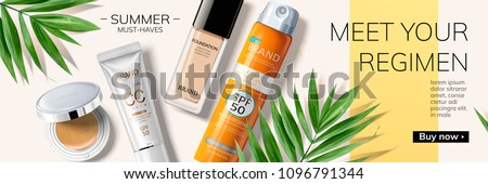 Summer must-have products on geometric background with tropical leaves in 3d illustration