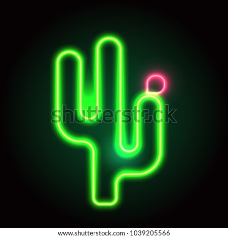 Summer neon sign with cactus. Neon sign, bright signboard, light banner.