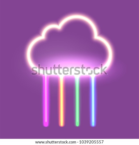 summer neon sign with cloud and