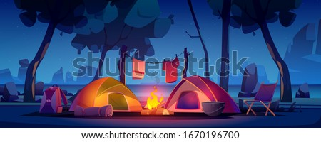 Summer night camp with tent, campfire, trees, lake and mountains on background. Vector cartoon landscape of natural parkland, countryside. Picnic on river beach