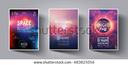 Summer Night Club Party Flyer or Poster Layout Template. Musical electro concert in the style of house,dubstep,techno,minimal,trance,Drum and Bass or Indie rock.Background of electric discharge.