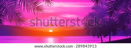 summer night palm trees on the