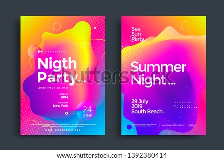 Summer Night Party poster wiht colorful liquid form. Abstract gradient club dj flyer design template. Electronic music fest.