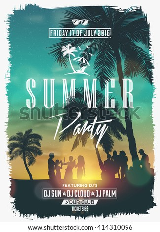 Summer Night Party Vector Flyer Template