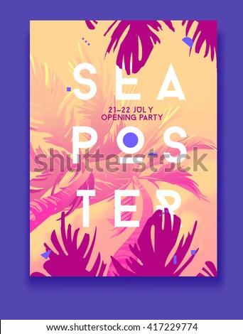 summer night party vector flyer