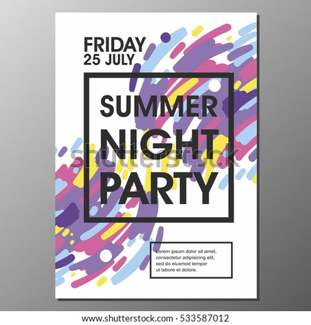 summer night party vector flyer template eps10 design ez canvas