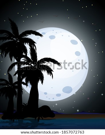 Summer night scene silhouette illustration