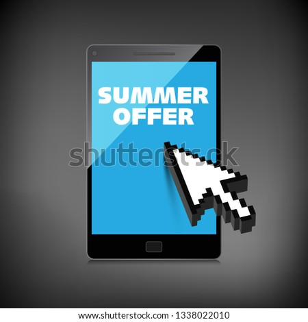 Summer offer words. Markdown, discount on High-quality laptop screen. Reduced Prices. Special offer. Shopping badge with percentage discount.