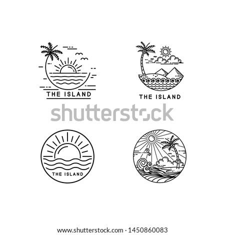 summer on tropical island, mono line style design set