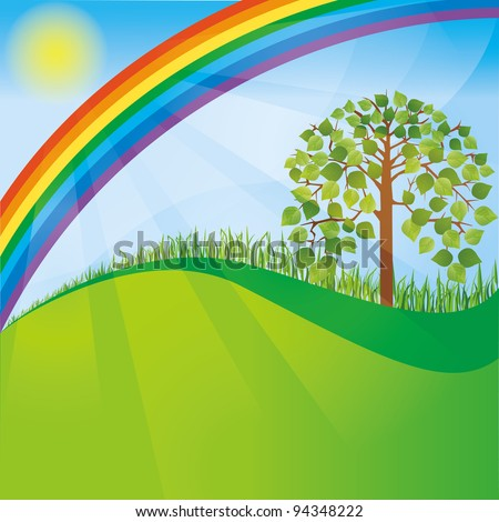 Summer or spring nature background with tree and rainbow