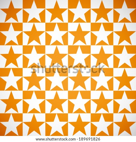 summer orange and white star with box pattern background (vector)