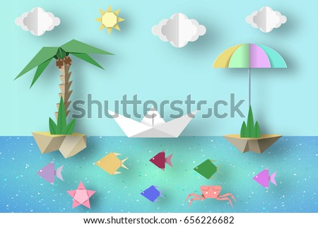 Summer Origami Fun Art Applique. Paper Crafted Cutout World. Composition with Style Elements and Symbols for Landscape. Decoration Template for Banner, Card, Logo, Poster. Design Vector Illustrations.