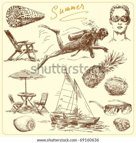summer-original hand drawn set