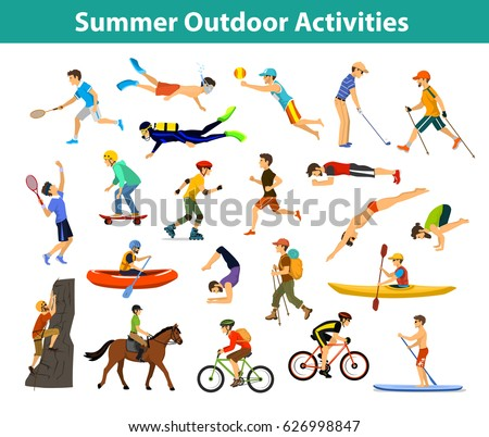 Summer outdoor, beach, sports and activities. Man do yoga, run, cycling, traveling with mountain bike and backpack, paddling, kayaking, climbing, rafting, hiking, play tennis, badminton, snorkeling