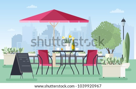 Summer outdoor cafe, coffeehouse or restaurant with table, chairs, umbrella and welcome board standing on city street against skyscrapers on background. Colorful vector illustration in flat style. - Shutterstock ID 1039920967