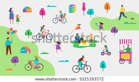 Summer outdoor scene with active family vacation, park activities illustration with kids, couples, families, relexing on nature, walk with dog, ride bicycles - Shutterstock ID 1025183572