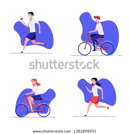 Summer outdoor sport activities. Young people jogging and cycling. Morning workout and jogging. Active and healthy lifestyle. Vector illustration in flat design.