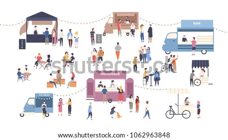 Summer outdoor street food festival. People walking between vans or caterers, buying meals, eating and drinking, taking selfie, talking to each other. Flat cartoon colorful vector illustration.