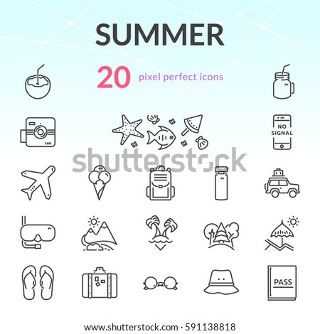 summer outline icon set of 20