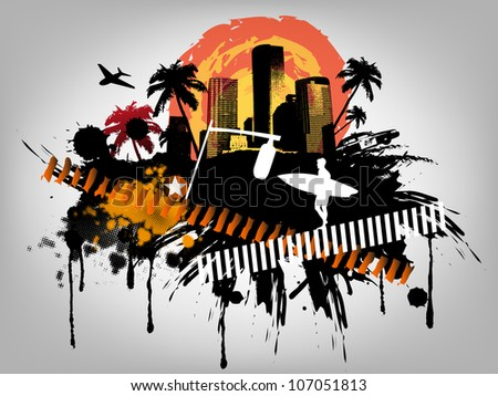 Summer Palm City Vector Illustration