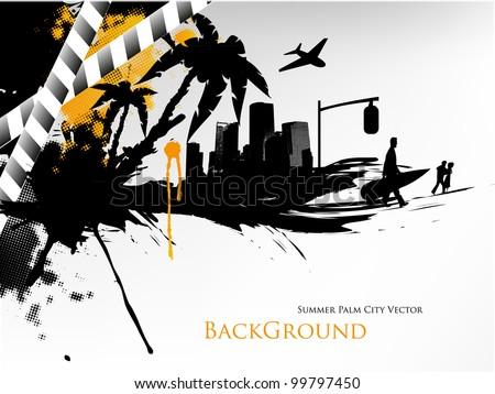 Summer Palm City Vector Illustration