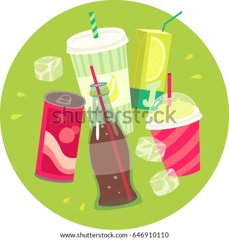 Summer party. Cold soft drinks and ice-cream