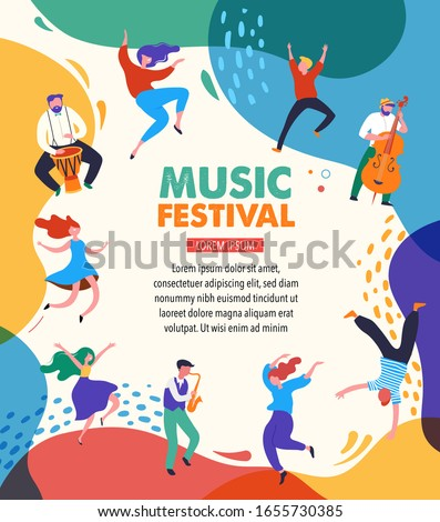 Summer Party, concept of live music festival, jazz and rock, food street fair, family fair, event poster and banner. People dance and play music. Vector design and illustration