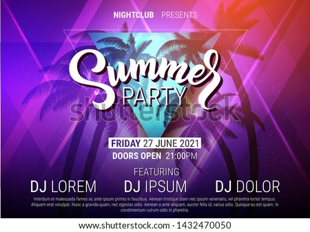 Summer party disco poster with lettering, palm trees on beachside and laser beams in trendy neon colors. Vector backround.