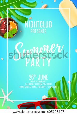 summer party flyer with place