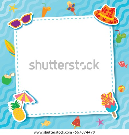 Summer party for template frame decorated with ice cream and fruit symbol decorated with water pool.