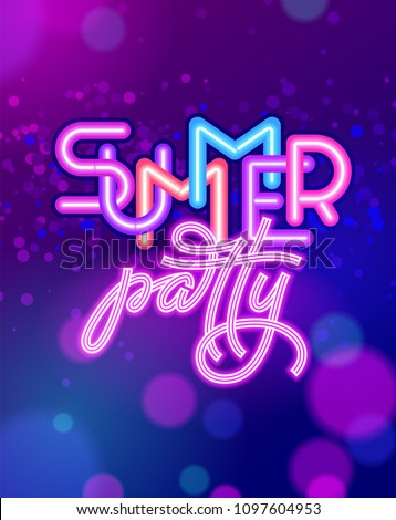 summer party lettering on