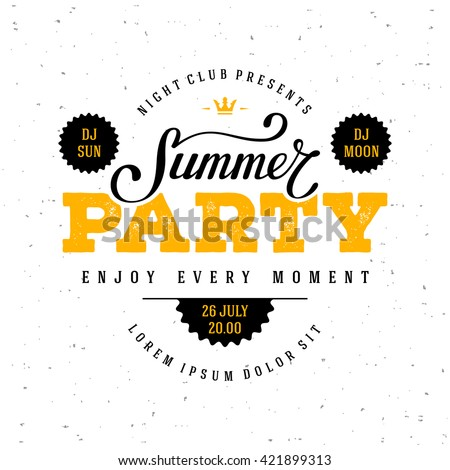 Summer Party lettering. Vector illustration.
