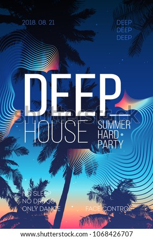 Summer Party poster design. Summer music party flyer artwork template A4.  Creative palm tree background party poster. Events like house music