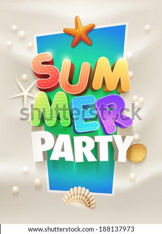 Summer Party Poster design template Elements are layered separately in vector file