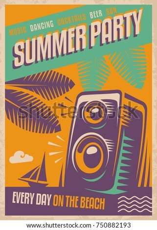 Summer Party Retro Poster Design Beach Template With Loud Speaker Palm Tree
