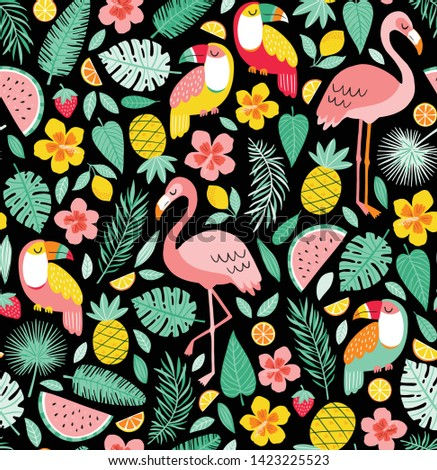 summer pattern with flamingo