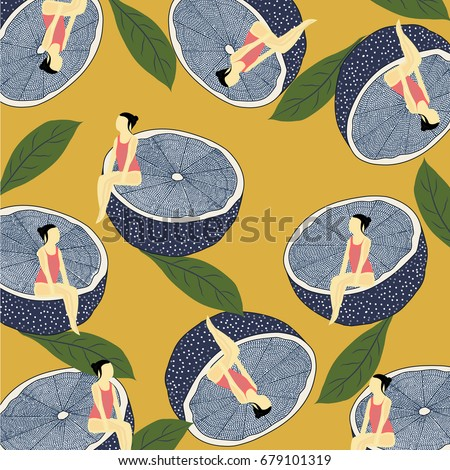 summer pattern with lemons