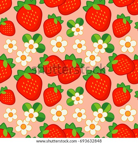 Strawberry Seamless Pattern In Retro Style EZ Canvas Simple Strawberry Pattern