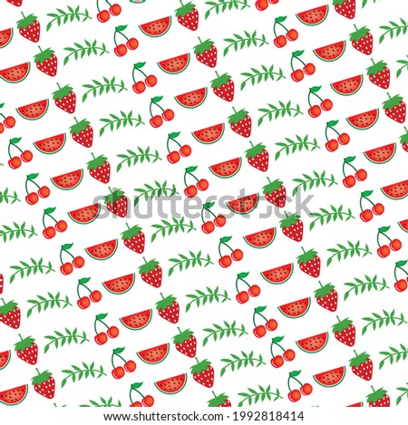 Summer pattern with watermelon, pineapple and tropical leaf