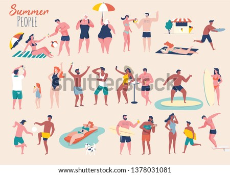 Summer people on the beach. People in different poses and situations. Flat design illustration.