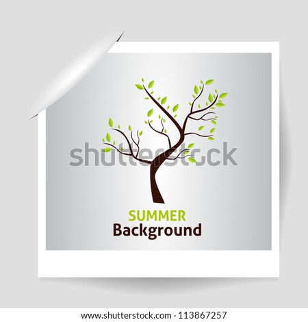 summer photo frame green tree