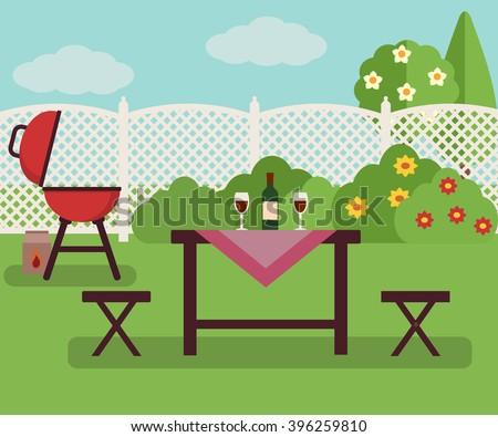 summer picnic in garden