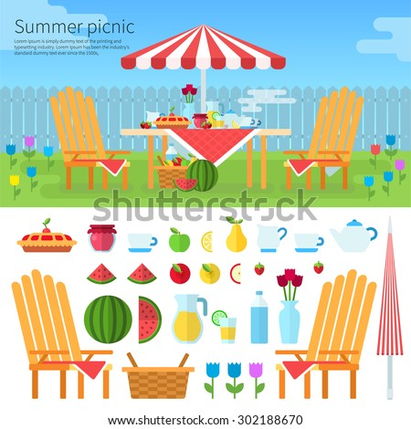 summer picnic in garden with